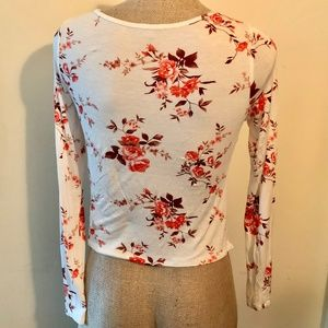 Charlotte Russe Tops - Charlotte Russe Floral Top With Lace Hem